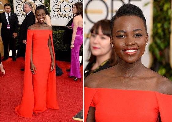 Lupita Nyong'o, this awards show season's style star, will be wearing Ralph Lauren to the Golden Globes tonight. The style is a red silk cady cape dress from the 2014 spring runway, and it could be the biggest red carpet moment for the American designer since Gwyneth Paltrow wore his petal pink taffeta princess gown to the 1999 Oscars.