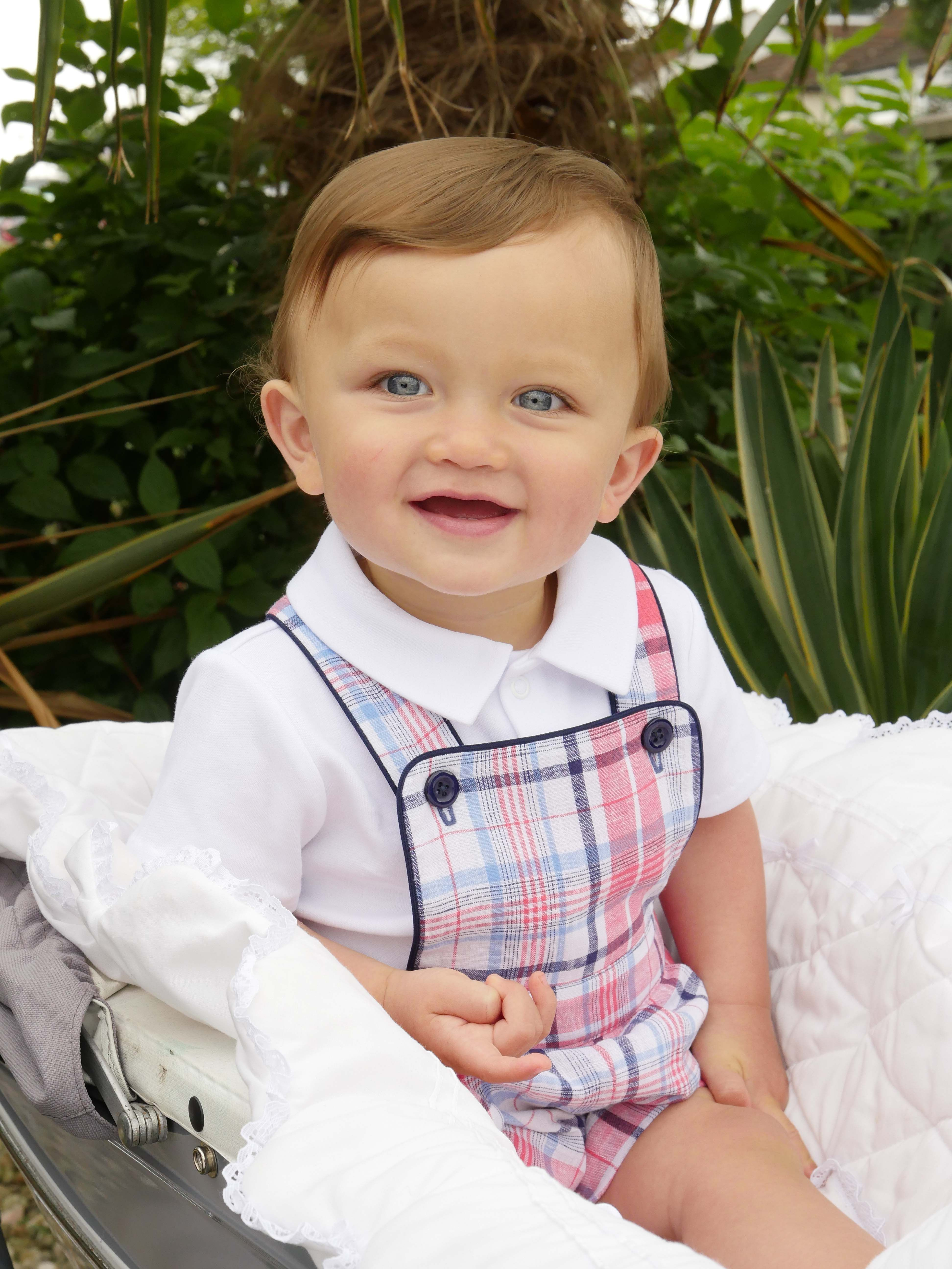 17a605c76 Red, blue and ivory checked linen dungarees trimmed with navy piping, with  adjustable straps