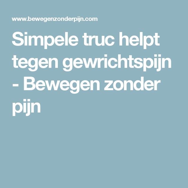 Simpele truc helpt tegen gewrichtspijn - Bewegen zonder pijn