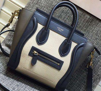 7ed1fb32ec28 Celine Luggage Nano Tote Bag in Original Leather 2016 black white etoupe
