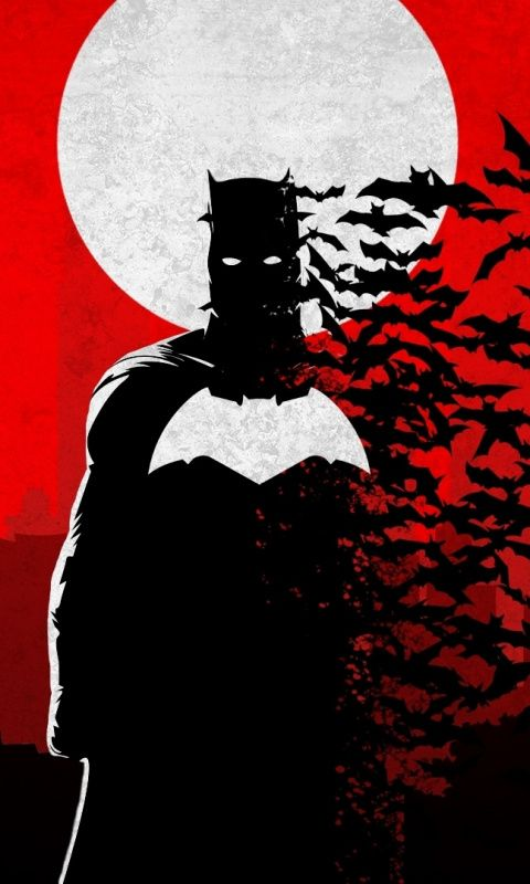 Dark, silhouette, bats and Batman, 480x800 wallpaper