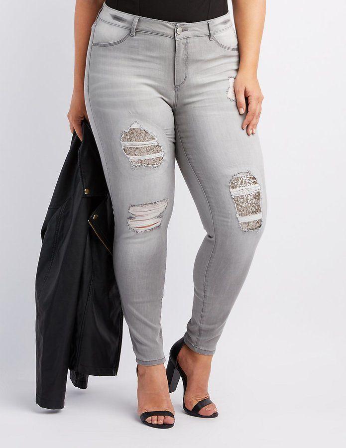 d93cf3a6a11 Charlotte Russe Plus Size Refuge Sequin-Inset Destroyed Skinny Jeans ...