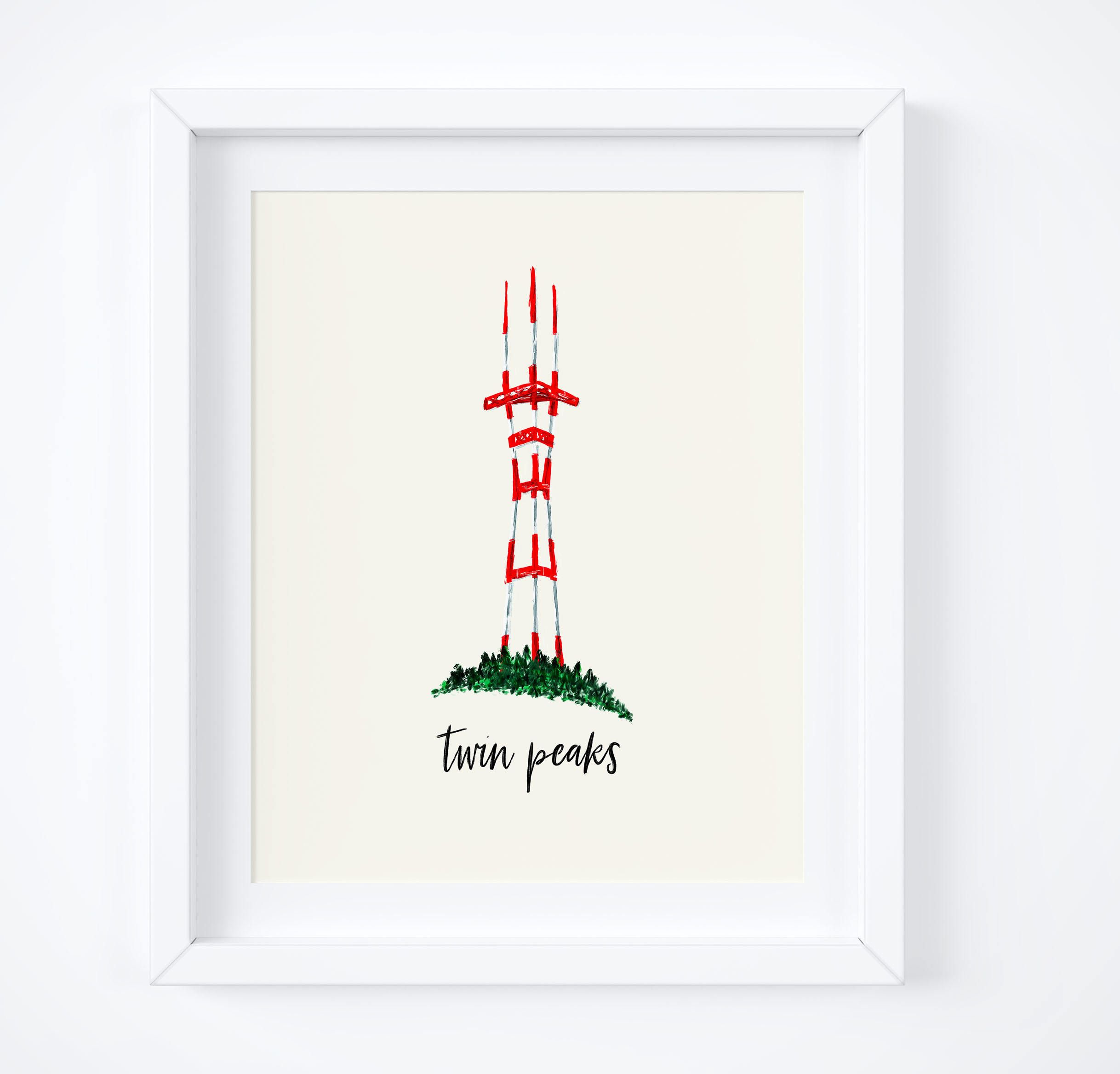 Twin Peaks, Sutro Tower, San Francisco Art, California Gift, City ...