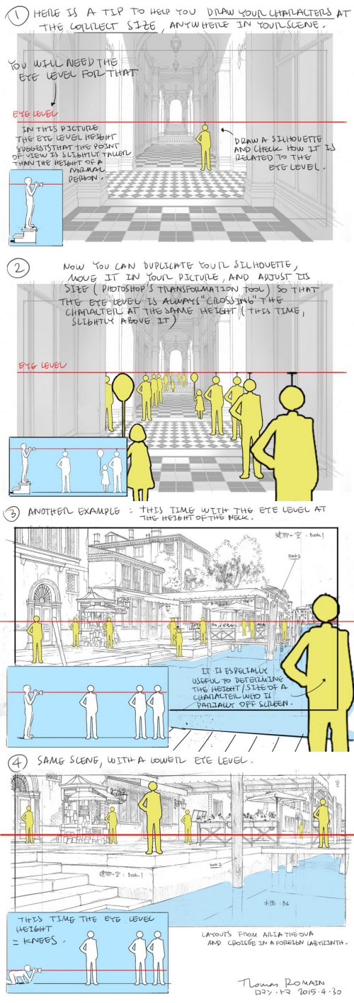 drawingden: Perspective Tips by Thomas Romain https://twitter.com/Thomasintokyo How to draw your characters at the correct size anywhere in your scene.
