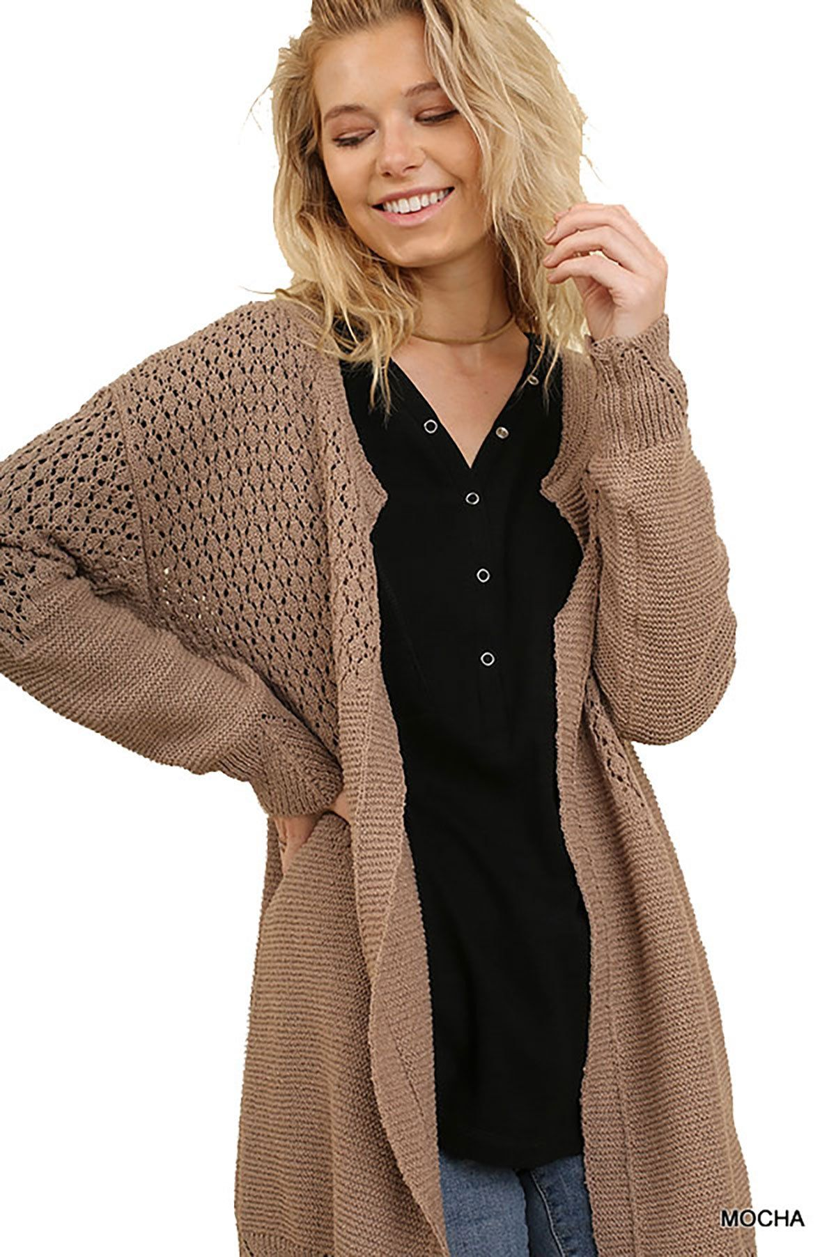 aec93e89e1 Umgee Open Front Light Sweater cardigans