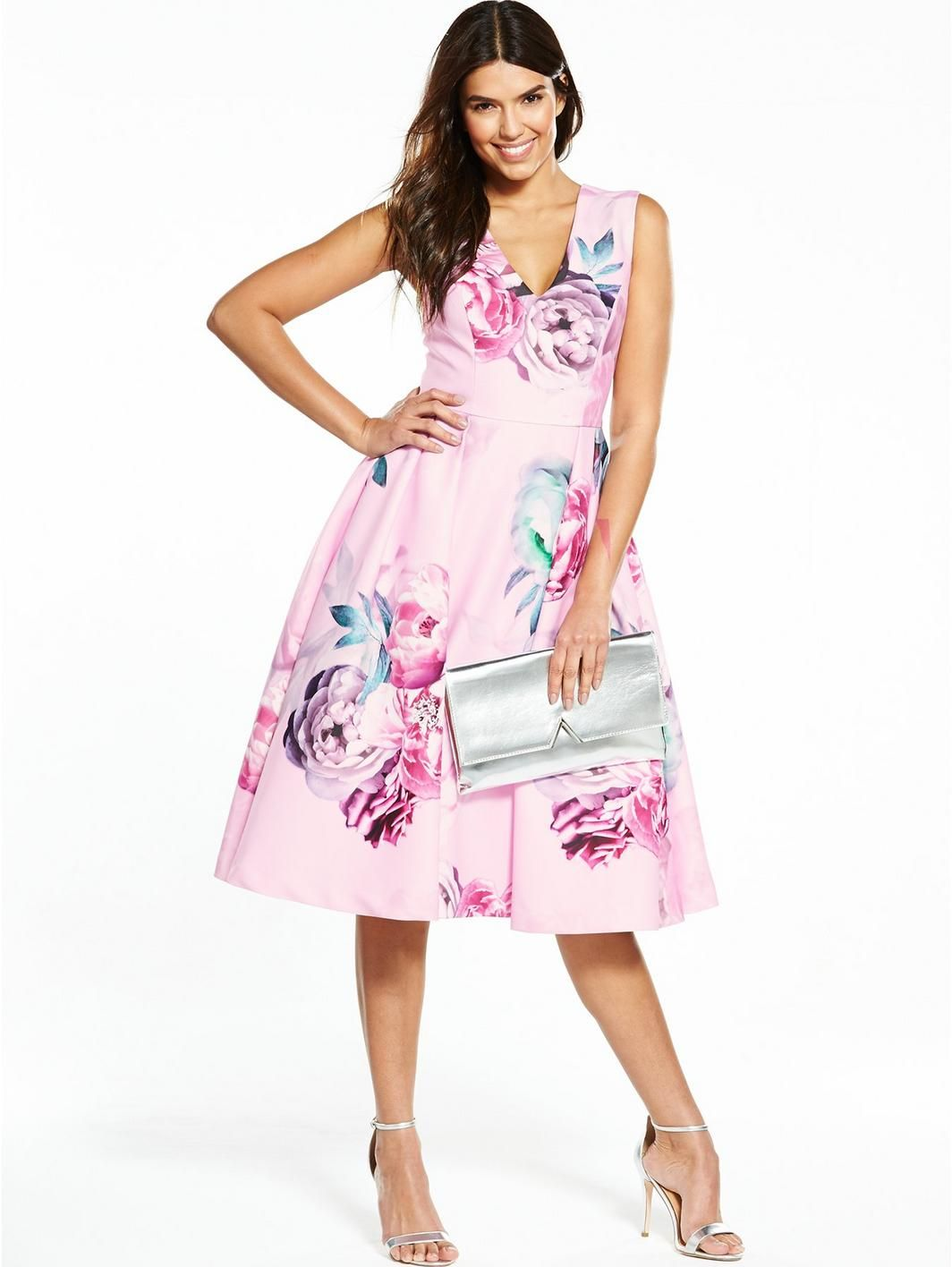Littlewoods dresses for weddings  Floral Printed Prom Dress  Pink  Prom Floral and Shopping