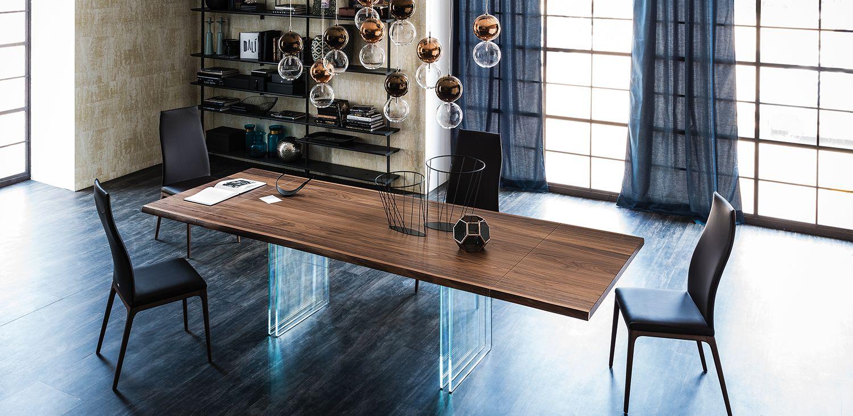 Tavolo allungabile con base in cristallo temperato extrachiaro trasparente 15mm e trave in - Tavolo trasparente allungabile ...