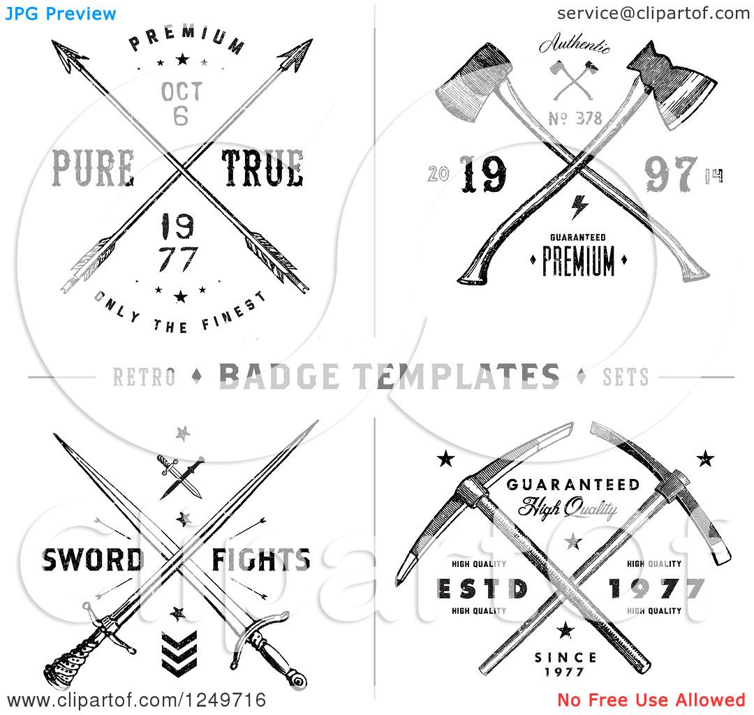 Clipart Of Vintage Arrow Axe And Sword Label Designs With Sample Text