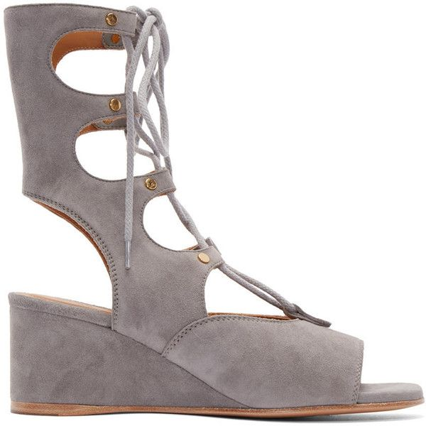 6042028eeac Chloé Grey Suede Gladiator Sandals (€795) ❤ liked on Polyvore featuring  shoes