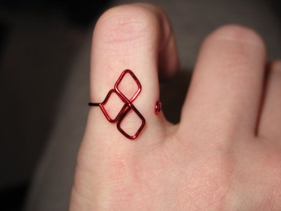 Wire Wrapped Harley Quinn Symbol Made To Order Ring