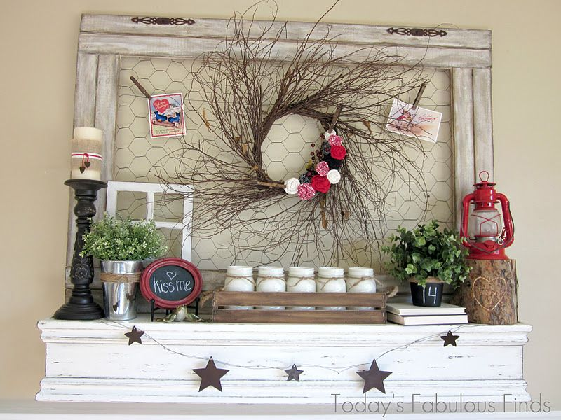I Love This Mantle Idea, With Chicken Wire Frame