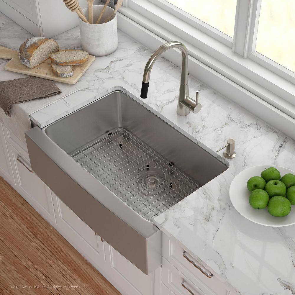 Kraus Standart Pro Farmhouse Apron Front Stainless Steel 30 In Single Bowl Kitchen Sink Khf200 30 Best Kitchen Sinks Kitchen Sink Decor Farmhouse Sink Kitchen