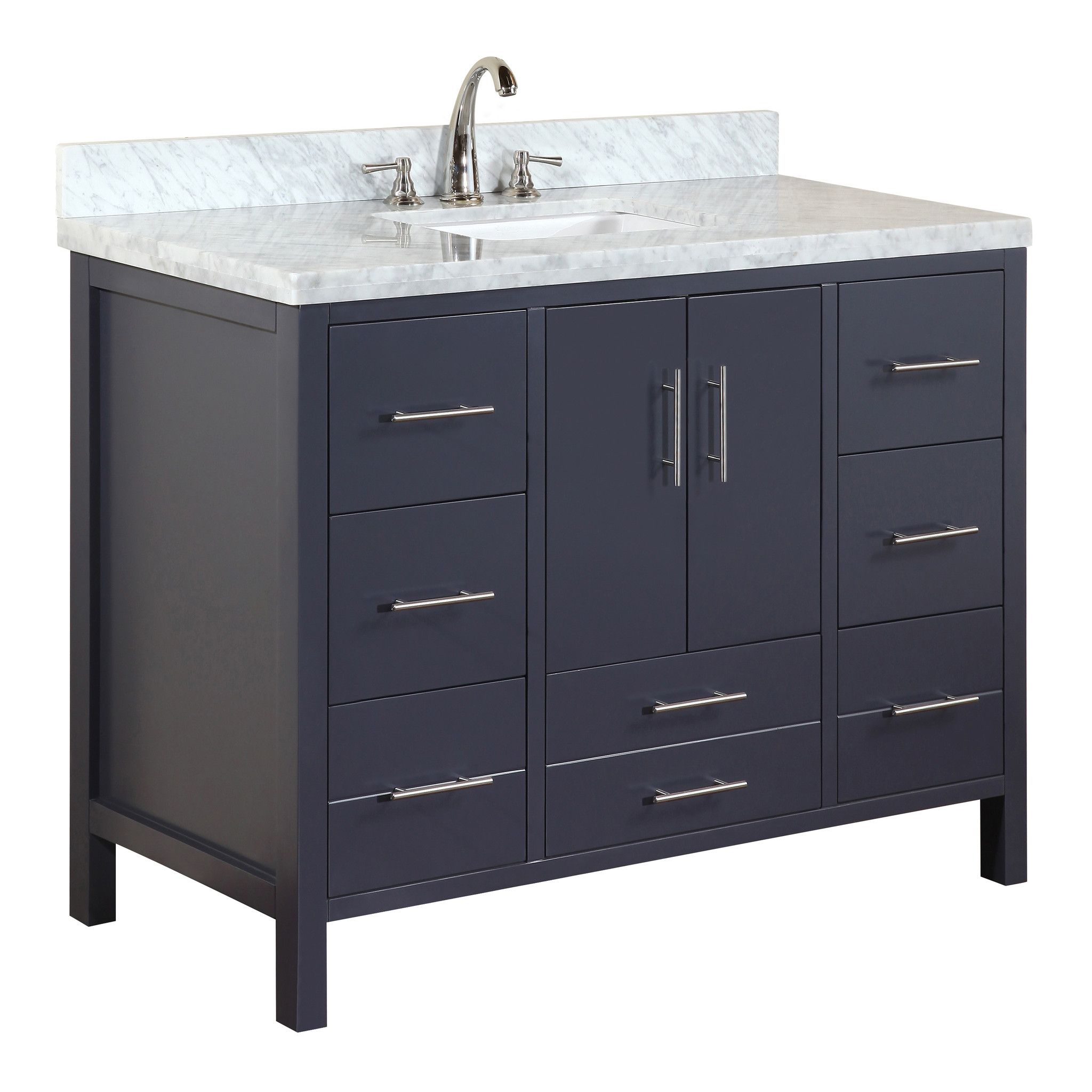 California 48 Inch Vanity Carrara Charcoal Gray Single Bathroom Vanity Bathroom Vanity Modern Bathroom Vanity