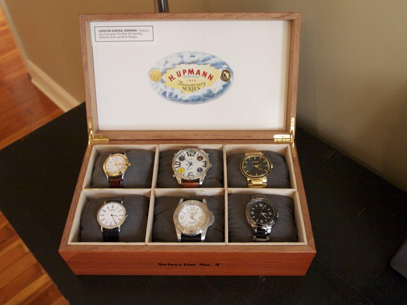 D.I.Y Watch Box Cigar box crafts, Jewerly box diy, Watch