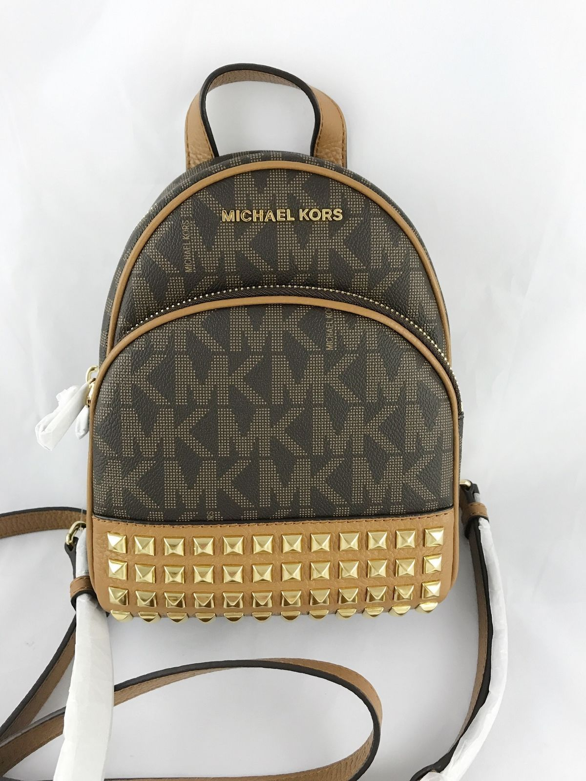 b04297026f1a7 NWT Michael Kors Abbey Mini Backpack Crossbody Stud Brown MK Acorn Extra  Small