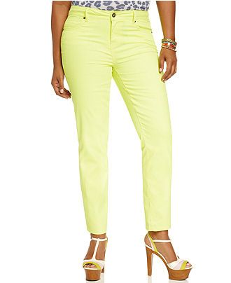 Hot Kiss Plus Size Jeans, Skinny, Neon Yellow Wash - Plus Size ...