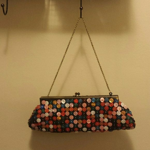 """Aldo multi-colored button Purse Such a cute bag! Hangs on """"weathered"""" gold chain. Never used, was given as a gift without tags. ALDO Bags Clutches & Wristlets"""
