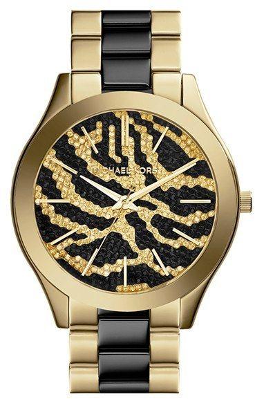 195 Black And Gold Watch Michael Kors Michl Slim Runway Bracelet 42mm Sold By Nordstrom
