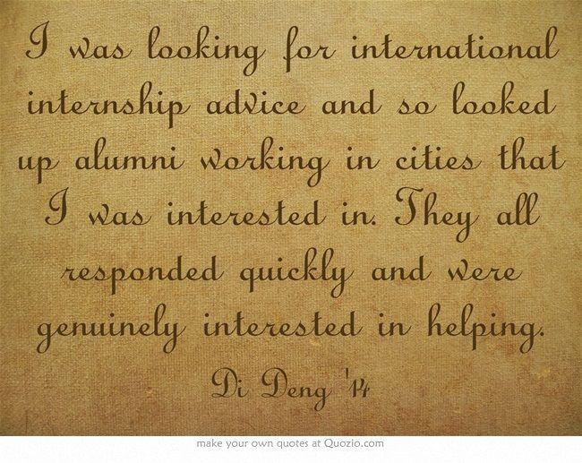 I was looking for international internship advice and so looked up - looking for an internship