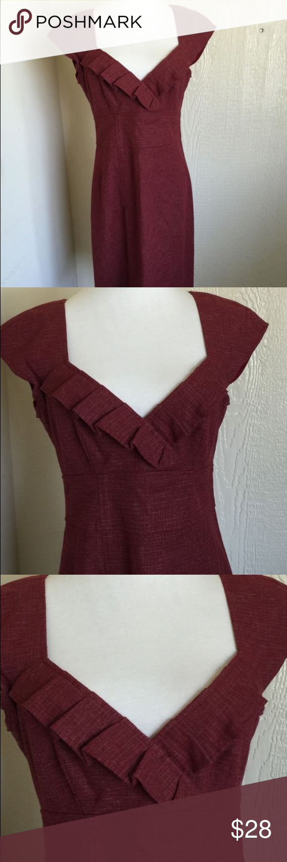 Nanette Lepore wool blend red dress Beautiful Nanette Lepore dress! It's made with a wool blend of 12%, 46% viscose, 35% cotton,6% nylon. It has an empire waist, cap sleeves and ruffle detailing on the neckline Nanette Lepore Dresses