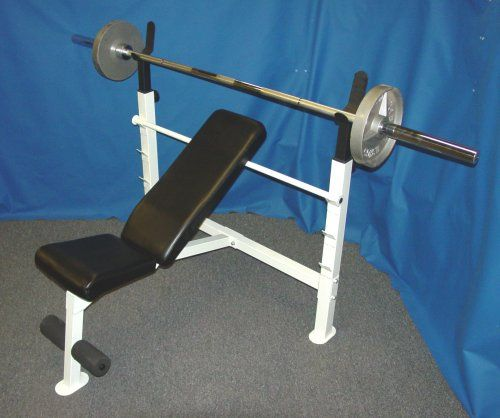 Olympic Weight Bench Olympic Bench Press With 300 Lb Olympic Weight Set Bench Is An 14 Gauge Steel Constru Olympic Weight Set Olympic Weights Weight Benches