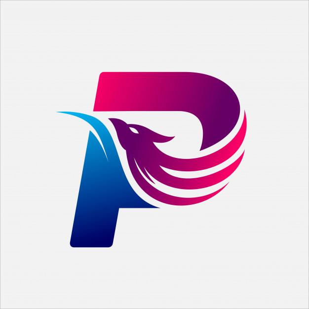 Phoenix Letter P Lukisan Huruf Desain Logo Huruf