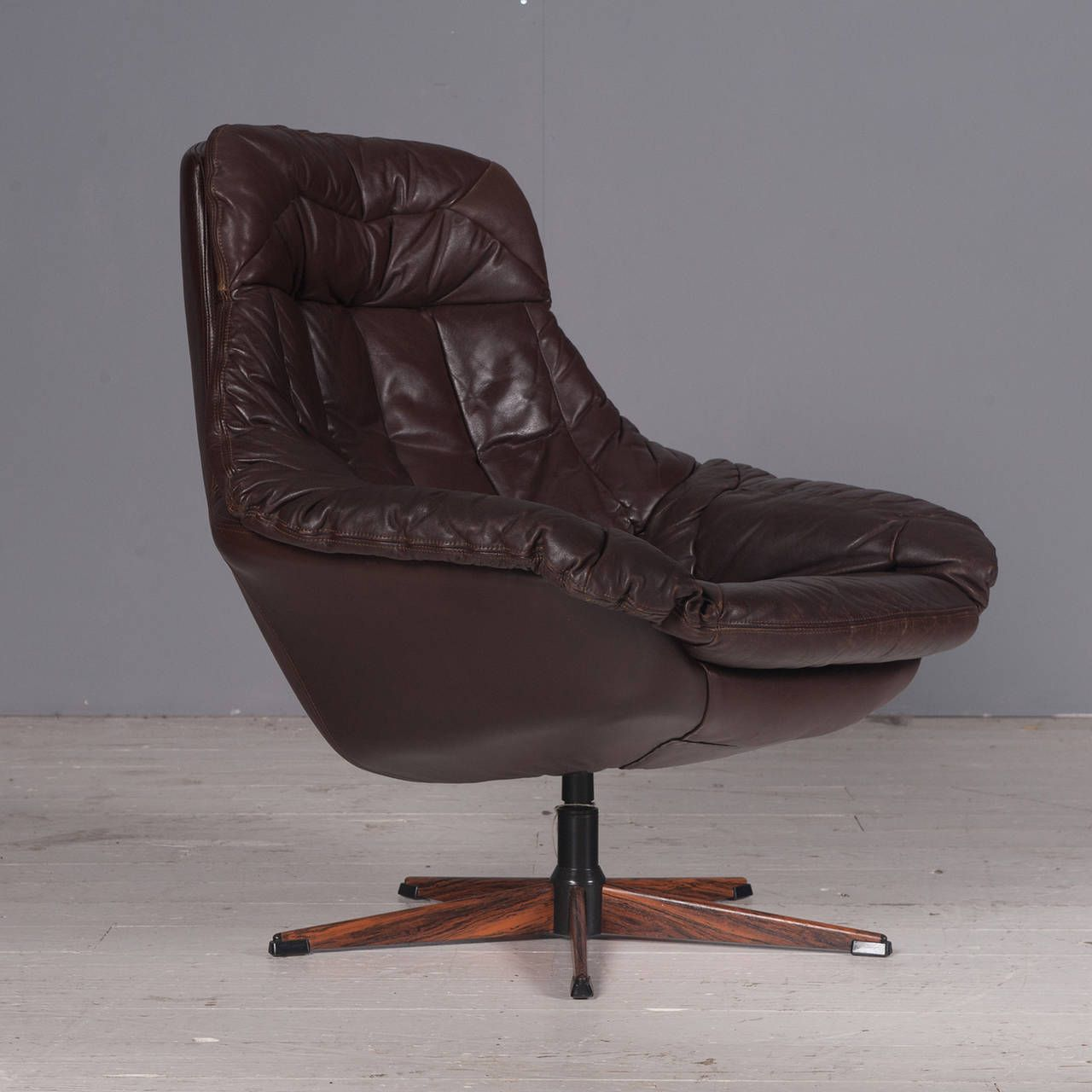 Danish Brown Leather Swivel Chair By H W Klein 1970s