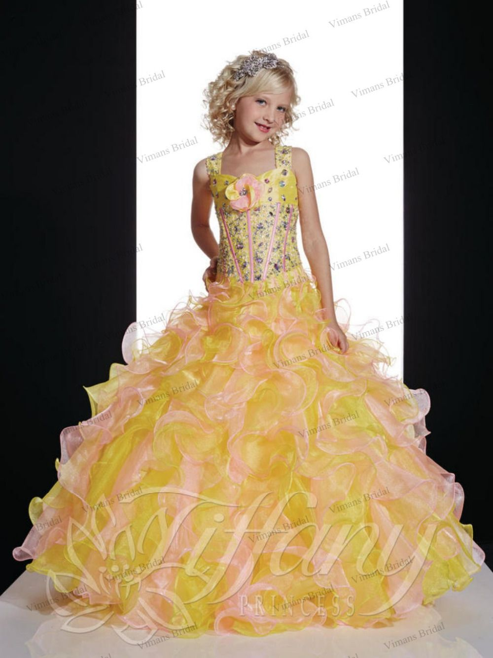 Click to buy ucuc free shipping new flower girl dress yellow ball