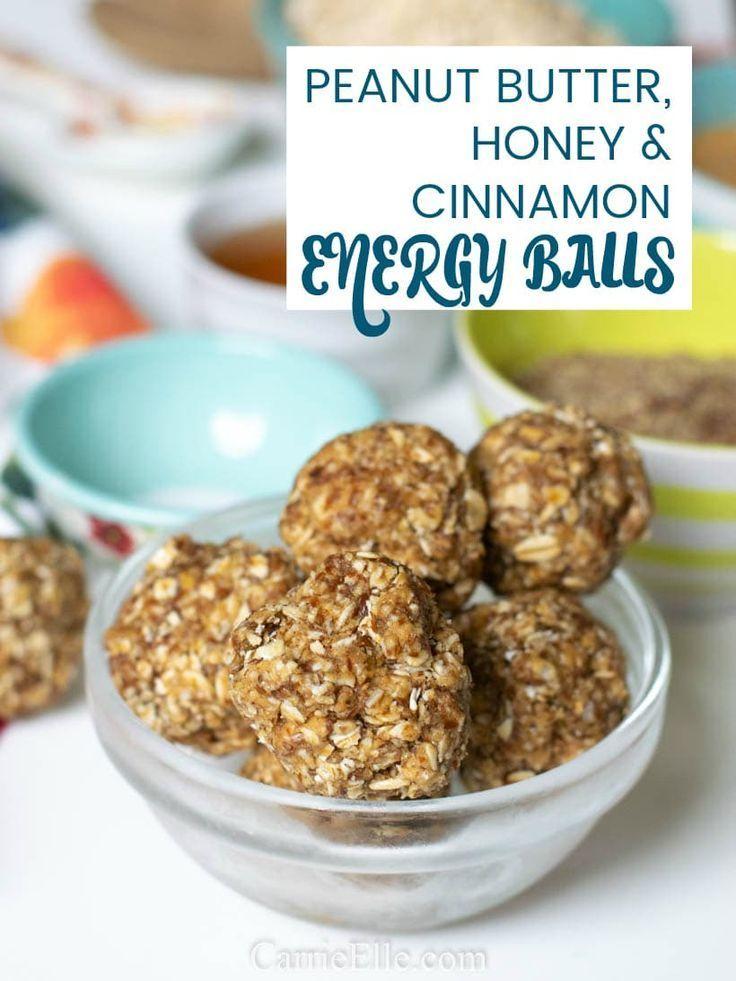 No-Bake Peanut Butter, Honey, and Cinnamon Energy Balls via Carrie Elle... #Balls #Butter #Cinnamon #Energy #Honey