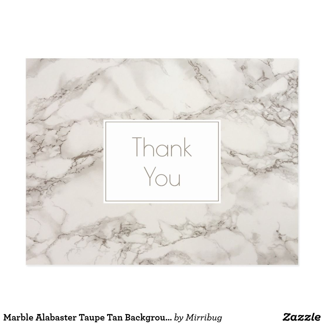 Marble Alabaster Taupe Tan Background Thank You Postcard Zazzle