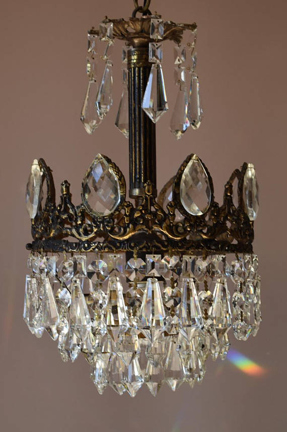 Solid Br Re Antique French Vintage Crystal