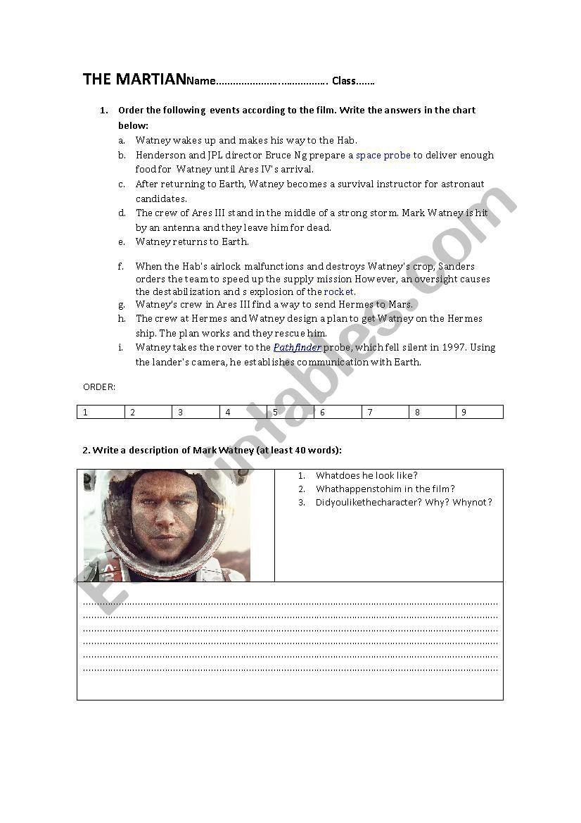 The Martian Movie Worksheet The Martian Esl Worksheet By Balmau In 2020 Parts Of Speech Worksheets Kindergarten Subtraction Worksheets Free Math Worksheets [ 1169 x 826 Pixel ]