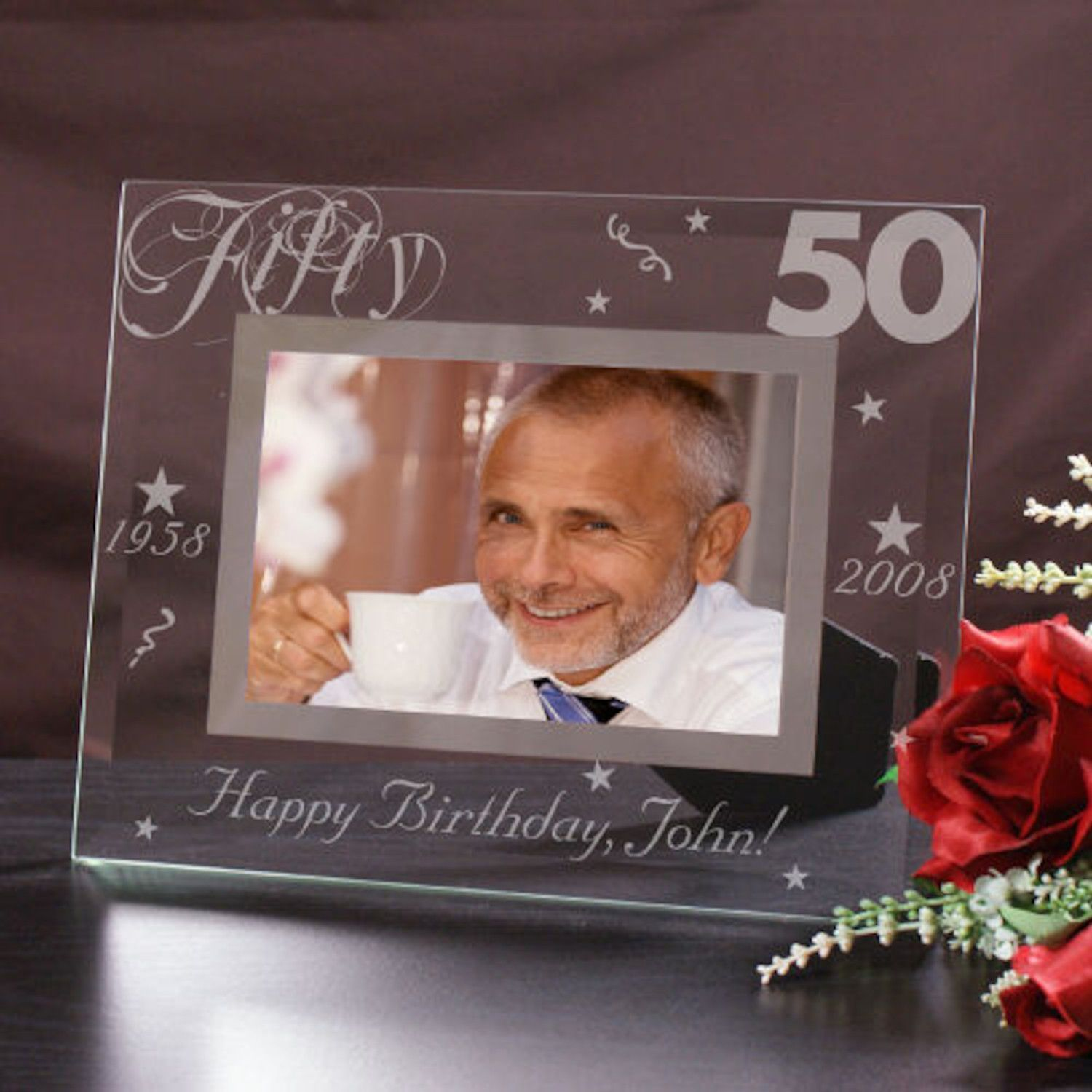 Personalized Engraved 50th Birthday Glass Picture Frame | Products ...