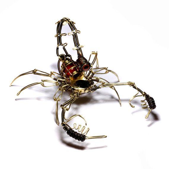 Steampunk Scorpion clockwork Robot Sculpture - Copper Brass and old Watch movement