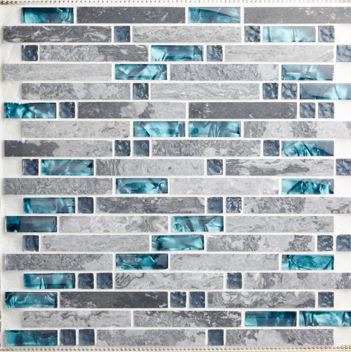 Nature Stone Glass Mosaic Blue Wave Glass Wall Tile Backsplash 9805 Gray  Marble Stripe 3d Floor