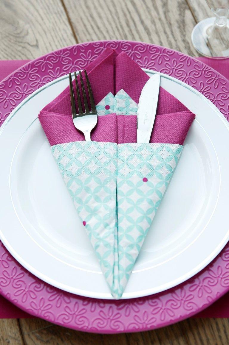Pliage Serviette Facile Range Couverts le pliage de serviette pas à pas | pliage serviette range