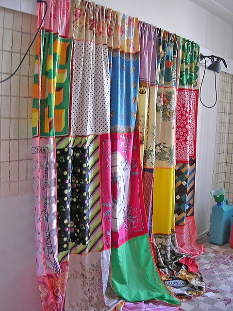 curtains/shower curtains made from scarves and bandana's sewn together, very cute!