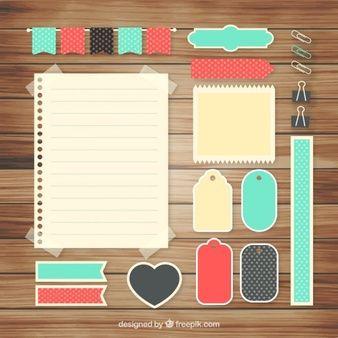 Conjunto de bonitos accesorios para colección de recortes