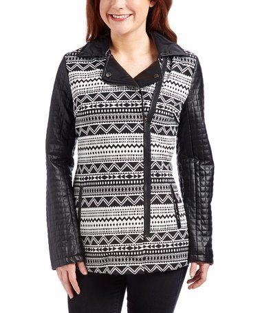 This Gray & Black Geometric Stripe Asymmetrical Jacket is perfect! #zulilyfinds