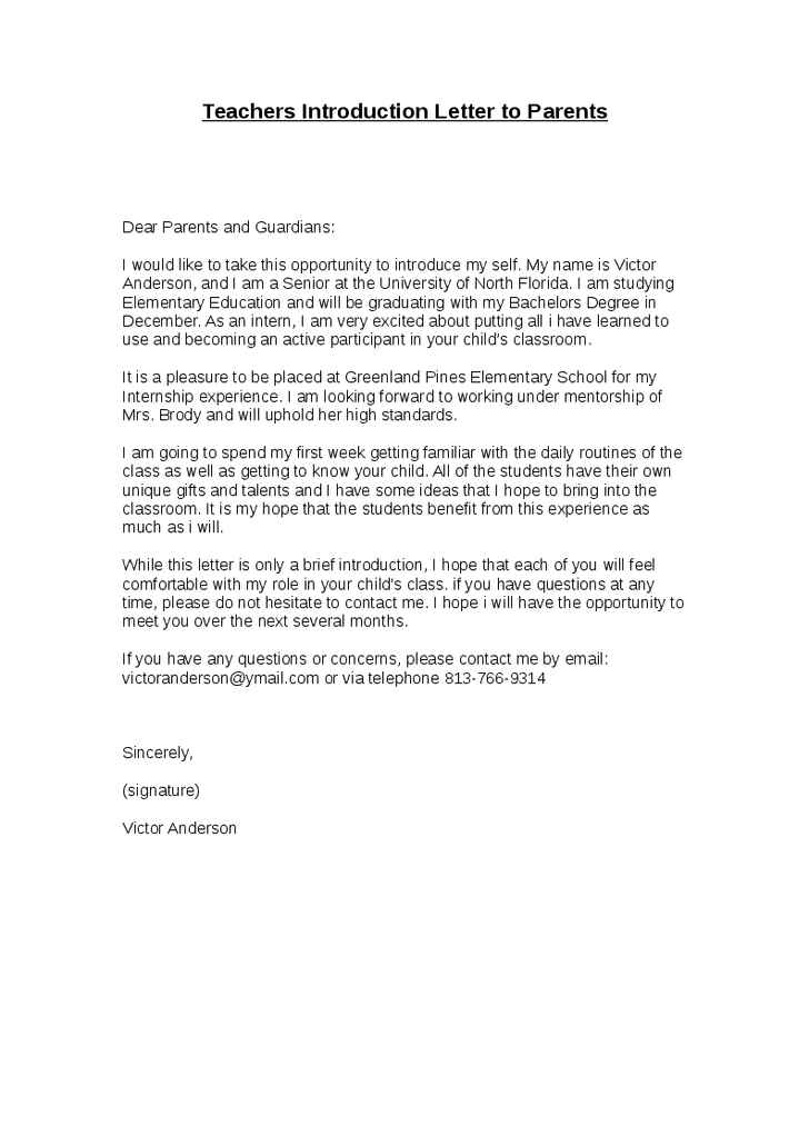 Teacher's Introduction Letter To Parents Teachers Write