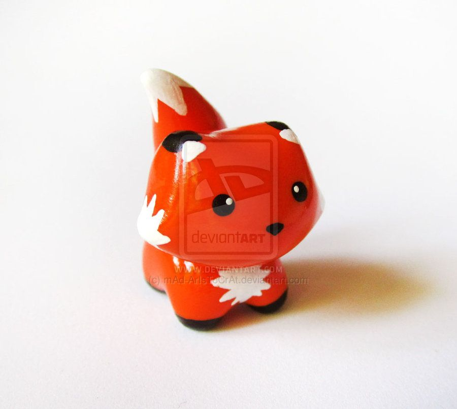 Cute Polymer Clay Miniature Fox by mAd-ArIsToCrAt deviantart