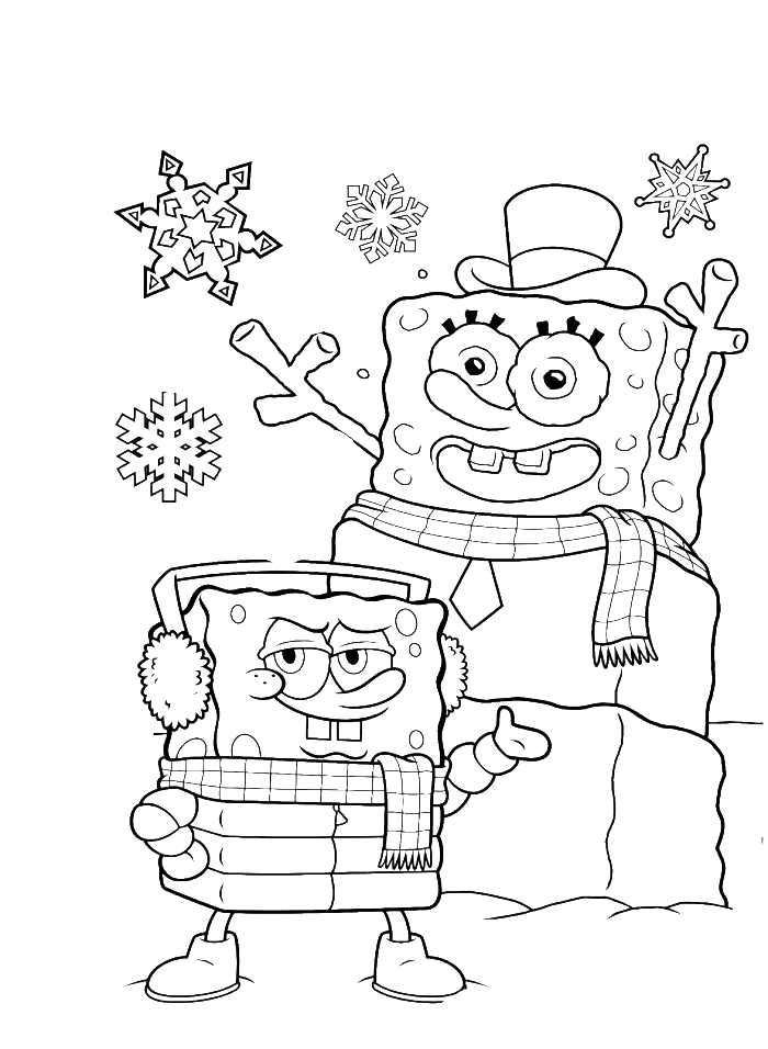 910 Top Coloring Pages Spongebob Christmas , Free HD Download