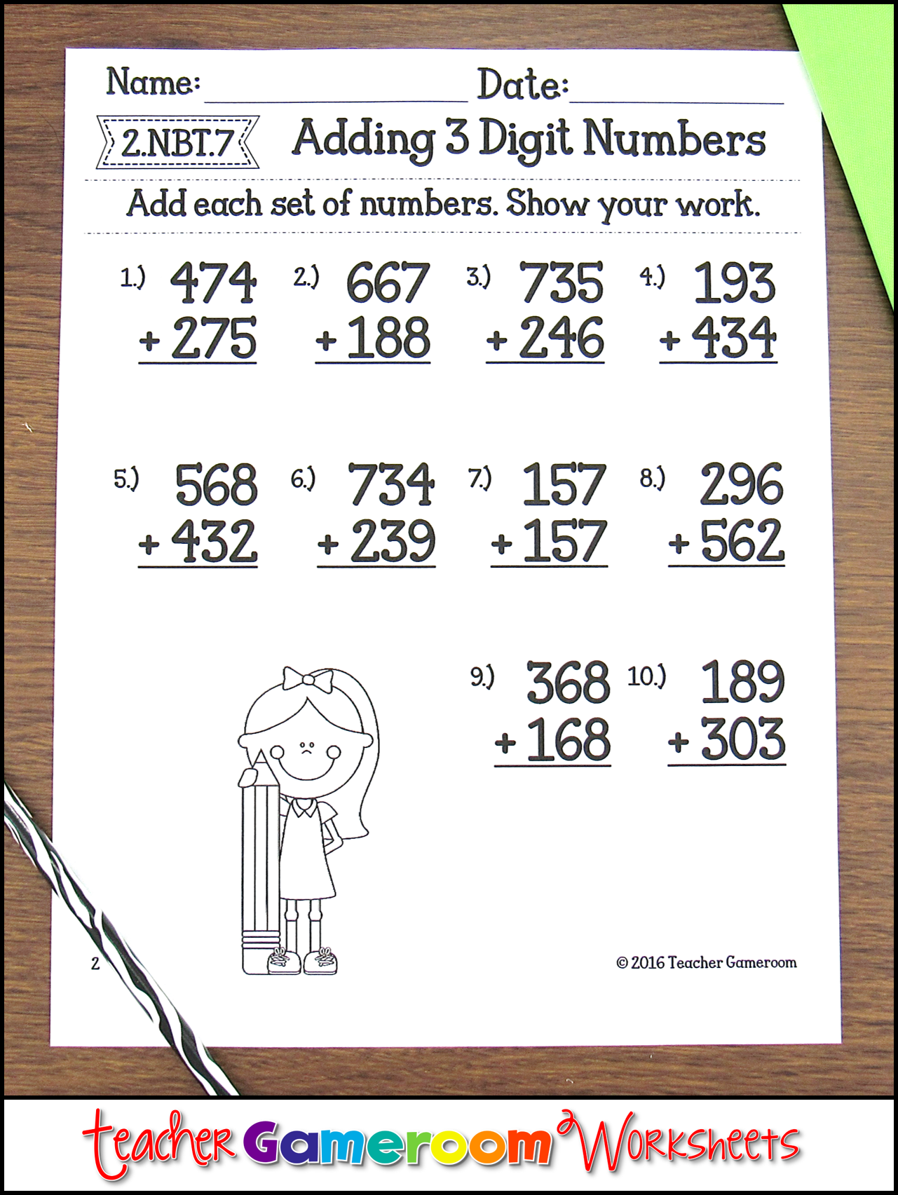 Adding 3 Digit Numbers Worksheets