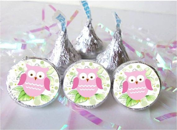 300 Owl Baby Girl Shower Favors Pink Candy Wrapper Stickers Hershey
