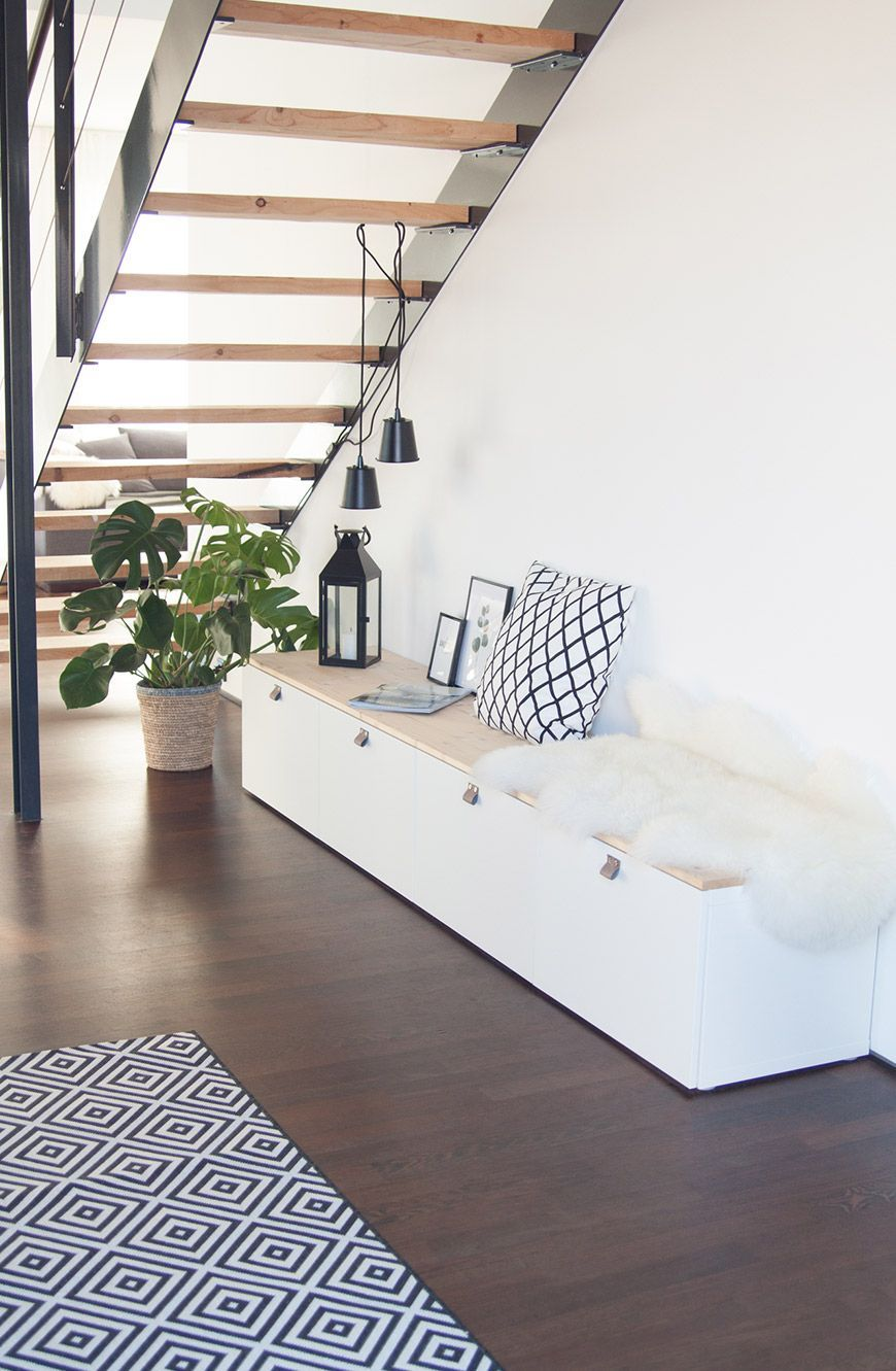 Bench in the hall from Ikea Bestå -  With warm colors, fairy lights and cozy skins, the bench becomes the perfect Christmas corner Ikea  - #bench #Besta #cutehomedecorations #diyHousedesign #Hall #Housestyles #IKEA