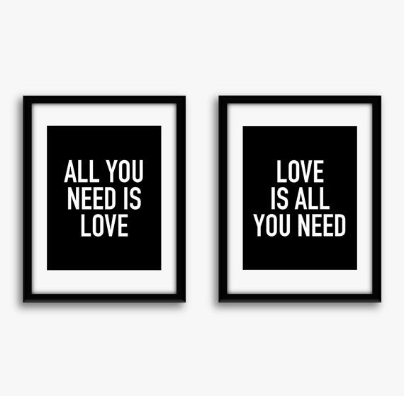Set Of Two 8x10 Custom Art Prints All You Need Is Love Love Is