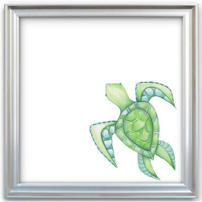 "Doodlefish Sea Creatures ""Green Sea Turtle"" by Regina Nouvel Framed Painting Print on Canvas"
