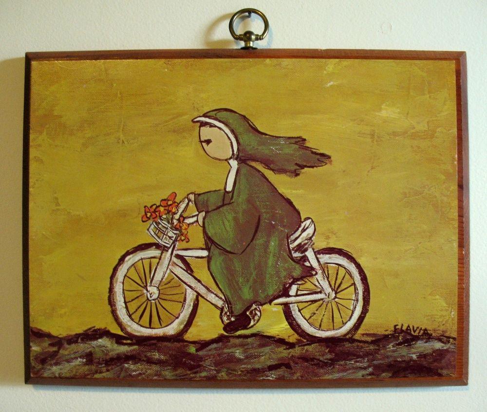 1960\'s NUN on Bicycle FLAVIA WEEDN Wood Plaque Vintage Bohemian Wall ...