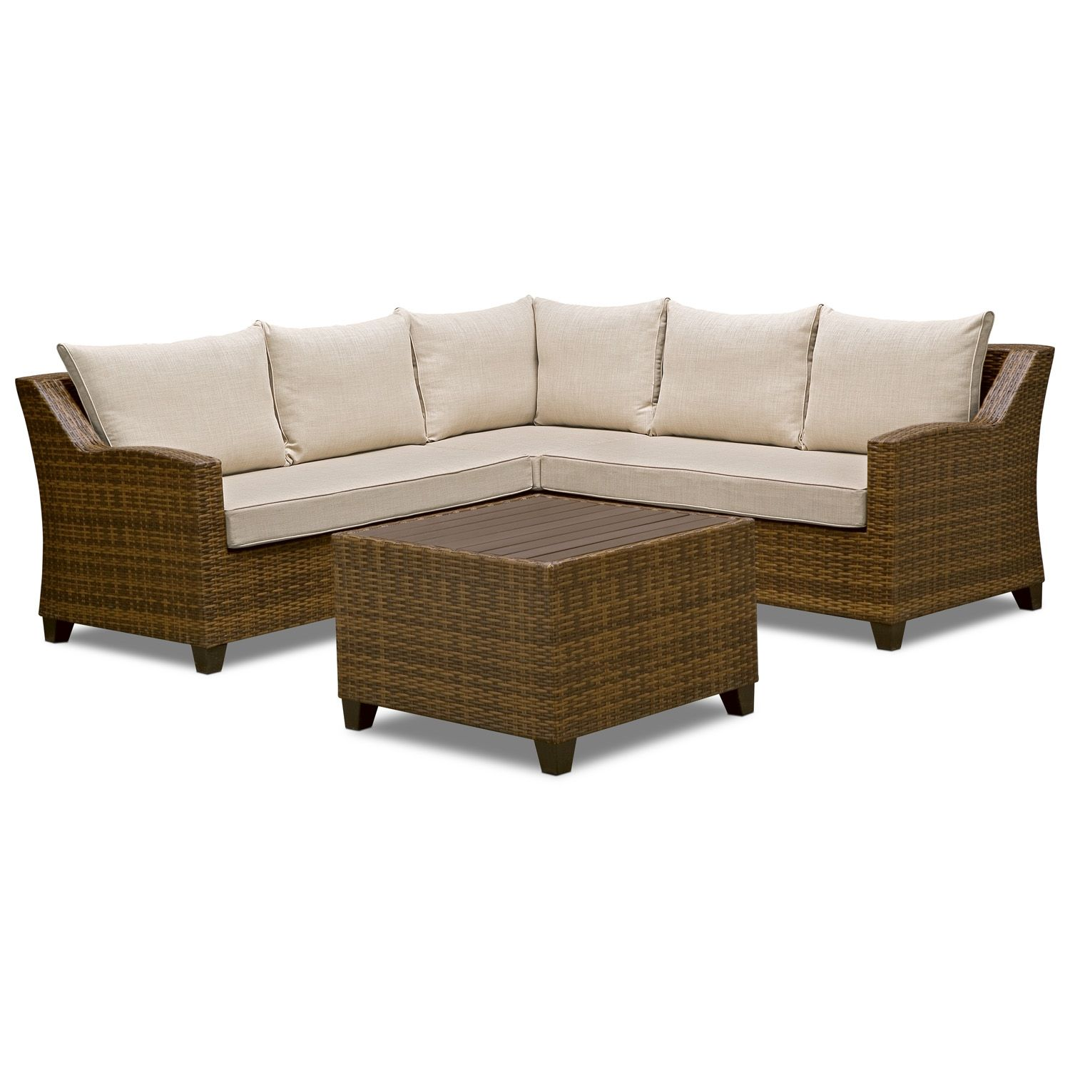 Woodfield Outdoor Furniture 3 Pc Patio Sectional And Cocktail Table Value City Furniture Furniture American Signature Furniture Value City Furniture