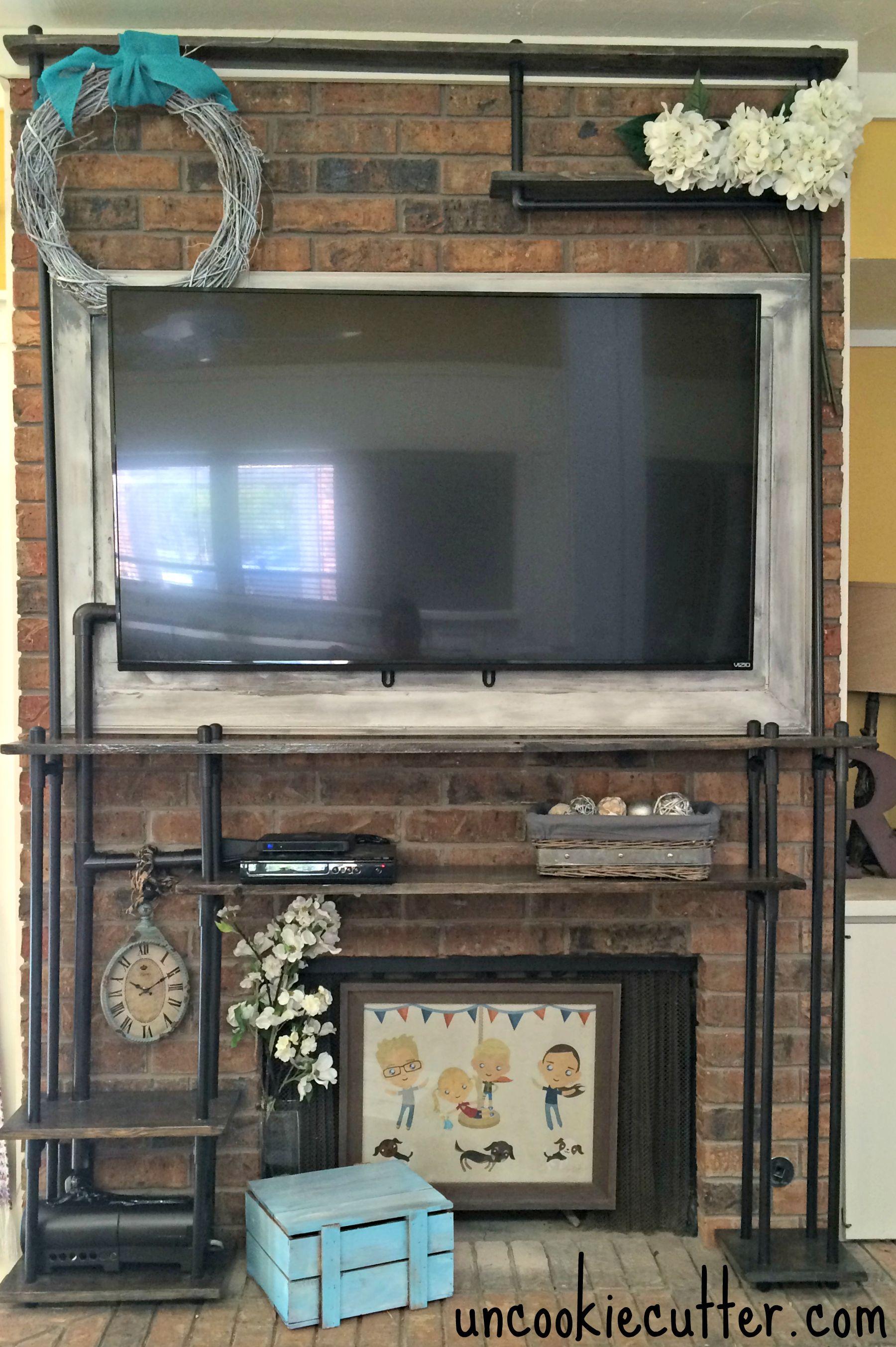 DIY Faux Industrial Shelves Hide Tv Industrial Shelves And - Diy build industrial hanging shelf